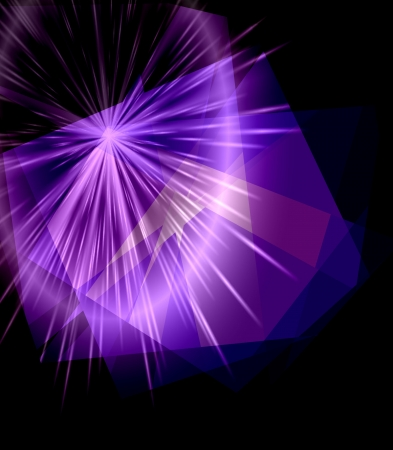 colorfuls: Purple Cubism Crystal Abstract over Black Background