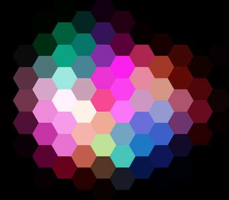 Colorful Mosaic Hexagon Abstract Over Black Background photo