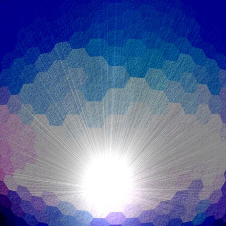retros: Blue Hexagon Abstract Background With Light Ray Stock Photo