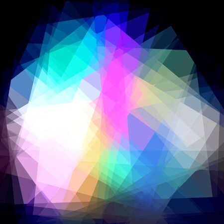 colorfuls: Colorful Cubism Crystal Abstract Over Black Background Stock Photo