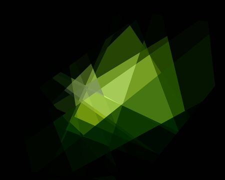 damasks: Green Cubism Crystal Abstract Over Black Background Stock Photo