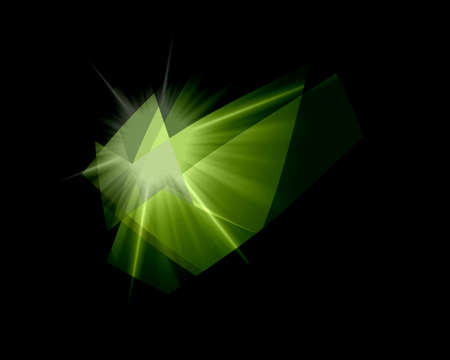 retros: Green Cubism Crystal Abstract Over Black Background Stock Photo