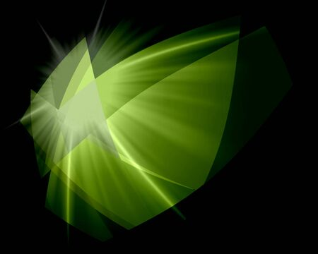 colorfuls: Green Cubism Crystal Abstract Over Black Background Stock Photo