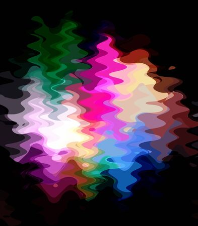 Colorful abstract waves over black background photo