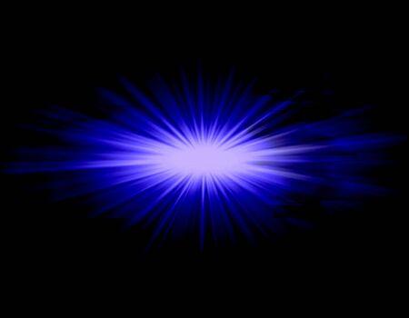 Blue ray star light over black background photo