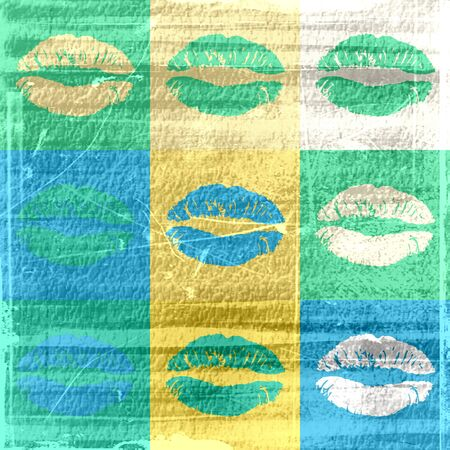 kisser: Seamless texture with a lot of color lips prints