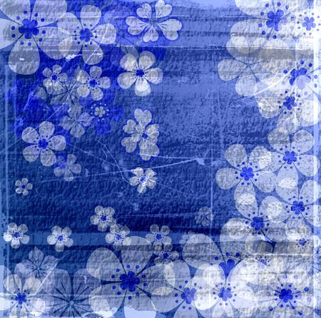 Vintage blue flowers texture abstract background photo