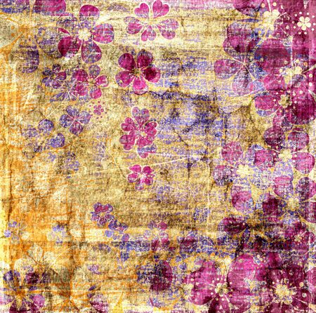 Vintage flowers texture abstract grunge background for design photo