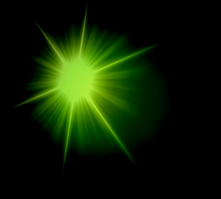 Abstract ray star light lime green over black background photo