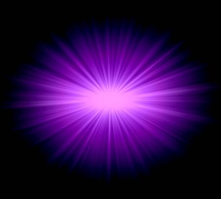 Abstract ray stars light purple over black background photo