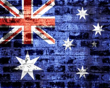 proportional: Australia flag on a brick wall