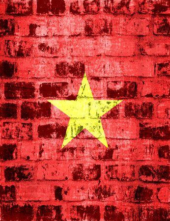 Vietnam flag on a brick wall  Stock Photo - 15447413