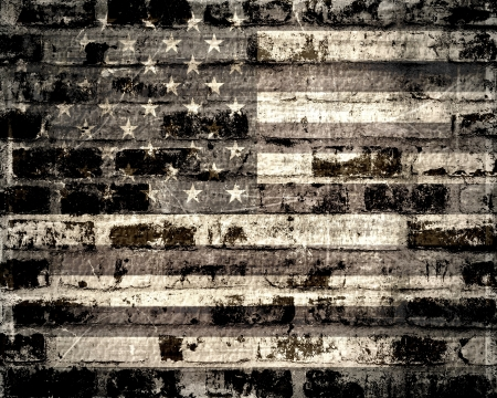 Old American flag on a brick wall  photo