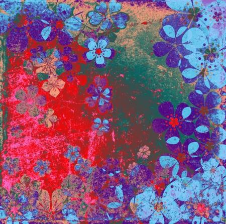 Art grunge floral background in purple violet red blue tones