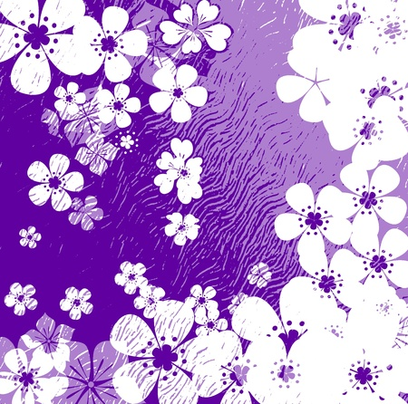 Art grunge floral background in purple violet white tones photo