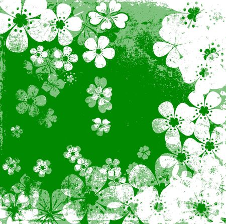 Art grunge floral background in green white tones photo