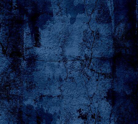 Dark blue wall texture, grunge background photo