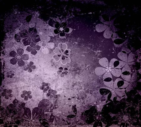 Dark Purple Floral Grunge Textured Background  photo