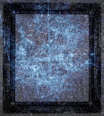 Dark Blue Grunge Frame Background  photo