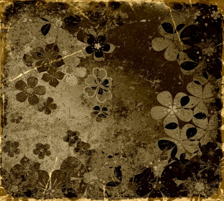 grunge layer: art grunge autumn floral vintage background texture