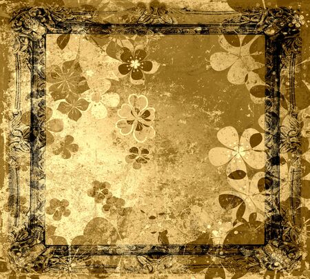 Vintage floral frame grunge old background  Stock Photo - 15742484