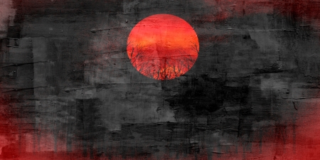 oil park: Red sunset abstract painting