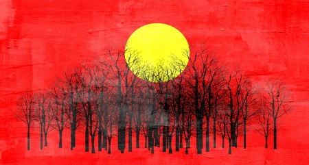Red sunset abstract painting photo