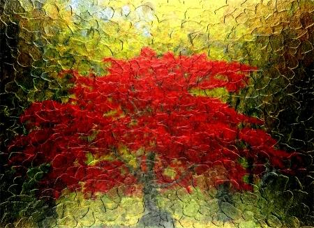 紅色的樹抽象繪畫在秋季