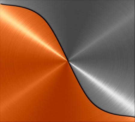 anodized: Metallic orange and gray metal texture background
