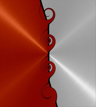 anodized: Red and Silver Stainless Steel Metal Swirl Stock Photo