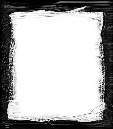 marco blanco y negro: Ordenador dise?ado grunge frontera o el marco Foto de archivo