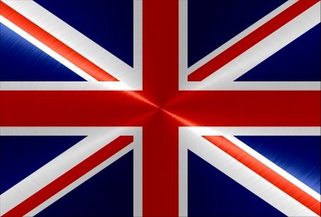 identidad cultural: Met�lico, metal, United Kingdom fondo de la bandera Foto de archivo