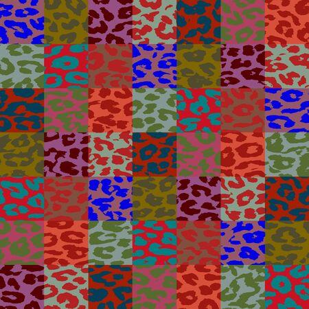 Colorful Leopard Print Skin Square Pattern 6 photo