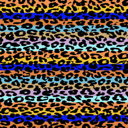 Colorful Leopard Print Skin Stripe Pattern 4 photo