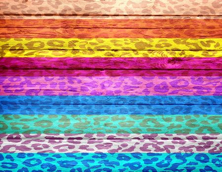 Colorful Leopard Print on Wood Background photo