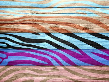 Art Colored Zebra Print on Wood photo