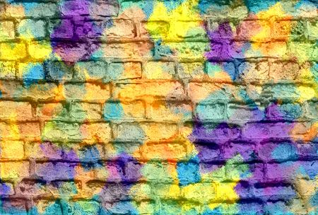 daub: Colorful brick wall background Stock Photo