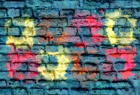 Colorful brick wall background photo