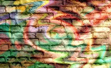 Graffiti brick wall background photo