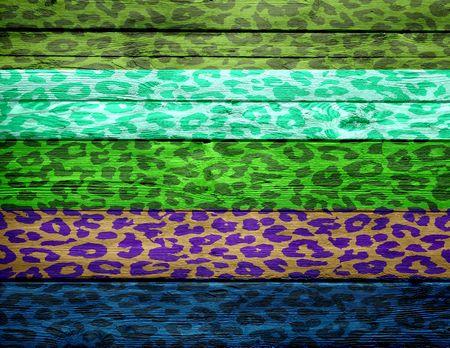 gepard: leopard print overlays vintage wood background Stock Photo