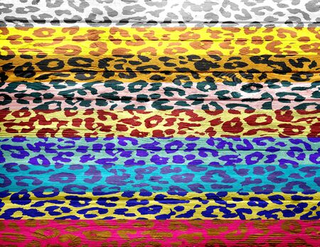 chetah: leopard print overlays vintage wood background Stock Photo
