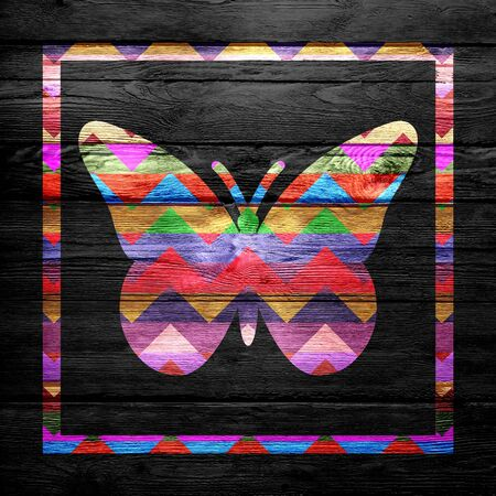 Chevron Butterfly Pattern on Wood photo