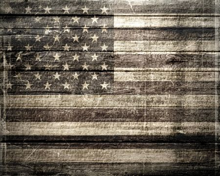 American Flag On A Wheatered Wooden Vintage Background photo