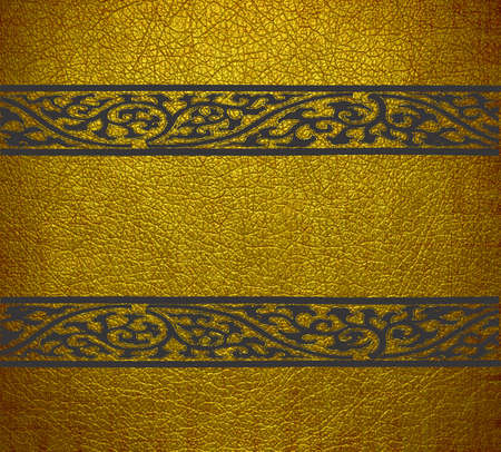 Yellow and black damask leather texture background photo