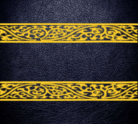 Black and yellow damask leather texture background photo