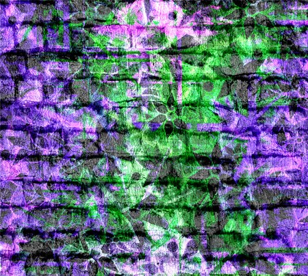 Art Flower Pattern Grunge Brick Wall Background photo