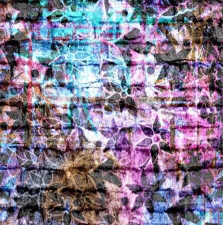 Art Flower Pattern Grunge Brick Wall Background photo