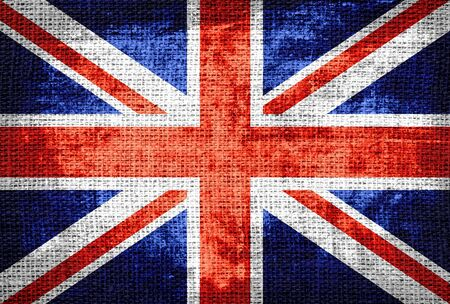 great britain flag: Grunge Great Britain Flag Burlap Rustic Jute Stock Photo