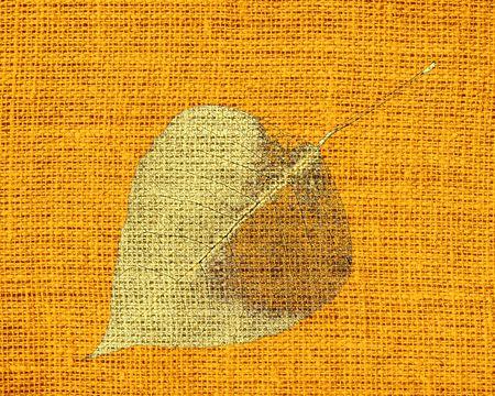 Art Painted Leaf  on Burlap Linen Rustic Jute Background