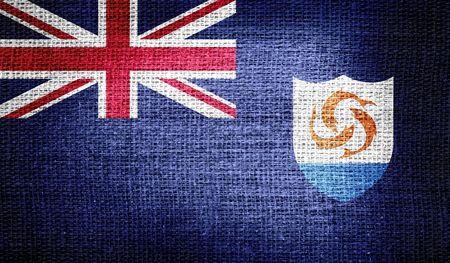 anguilla: Anguilla flag on burlap fabric Stock Photo